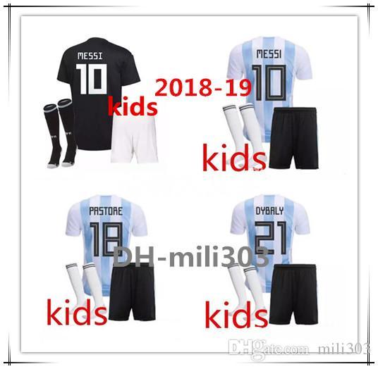 b7fb32a23 2018 Argentina World Cup Kids Kit 18 19 MESSI DYBALA Argentina Child Home  Away Soccer Jersey AGUERO DI MARIA HIGUAIN Children Football Shirt UK 2019  From ...