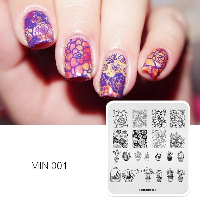 Hot Sale Nail Art Template MIN 001 Stamping Stamp Plates Beauty Manicure DIY Flower Pattern Polish Print Tips Nails Gallery From