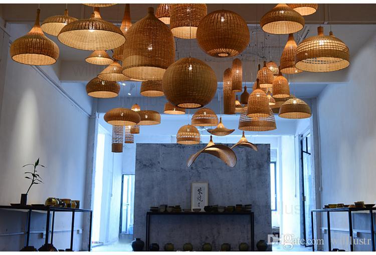 Handgjord naturlig bambu hänge lampa middag vardagsrum suspension ljus handgjord korg belysning hotell hall restaurang bar häng belysning