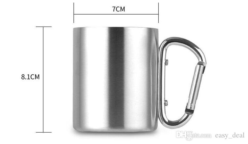 Portable Carabiner Handle Cup Stainless Steel Foldable Mug 220ml Outdoor Camping Clip Hook Mugs ZA6329