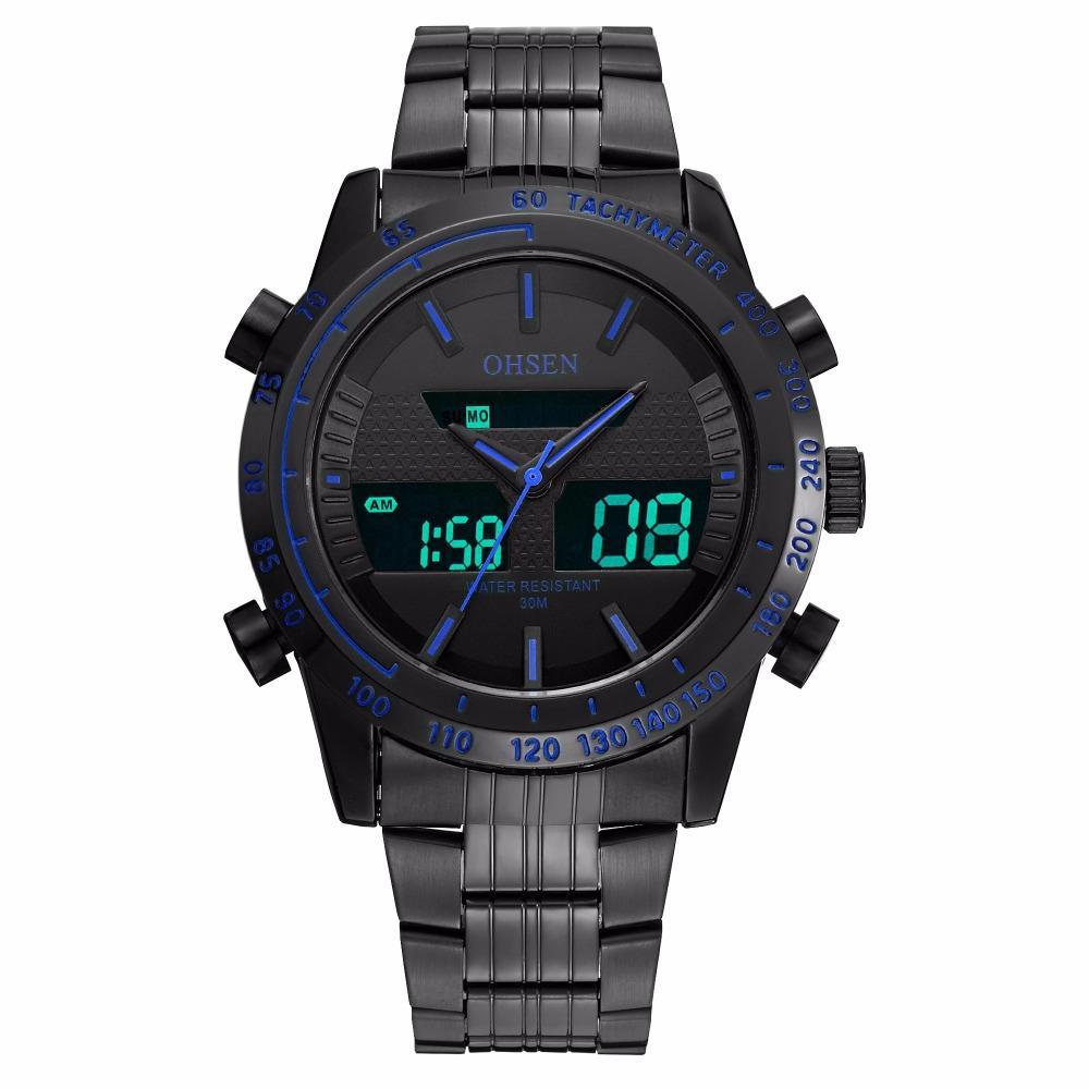 d686b681f63 Compre Original Moda OHSEN Quartz Eletrônico Masculino Relógio Do Exército  Dos Homens 30 M De Natação Homem Esportes Dual Time LCD Analógico Relógio  De ...