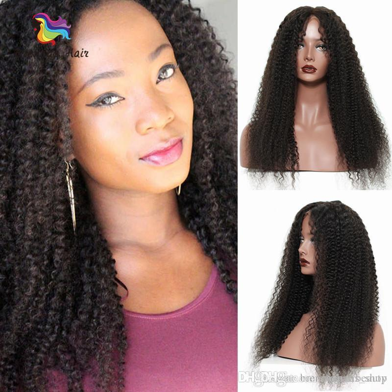 1B Indian Lace Wigs Afro Kinky Curly Long Human Hair 8-26inch Jerry Curly  Deep Curly Virgin Remy Hair Lace Front Wig uk b94435c61b8e