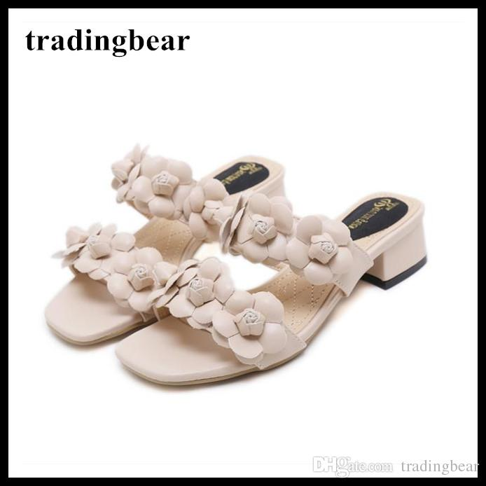 8826f70fe9e Women Designer Shoes Beige Flower Mid Chunky Heel Slipper Sandals Summer  2018 Size 35 to 39 Gladiator Sandals Designer Sandals Sandals for Wom  Online with ...