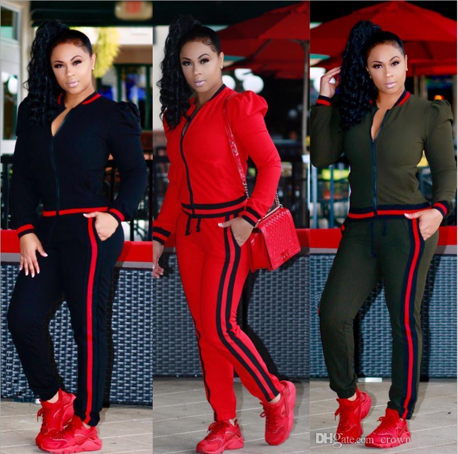 dashiki Pièce Ensemble Automne Hiver Zipper Vestes Haut Et Côté Pantalon À Rayures Fitness Outfit Piste Décontractée Survêtements Femmes Survêtement Plus La Taille 3XL