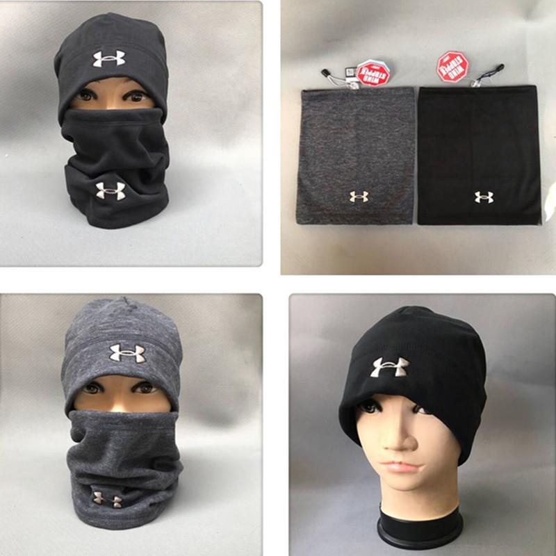 f44a3ec6eea994 2019 Brand UA Hats Scarf Set Winter Under Knitted Hat Neck Collar Scarves  Warm Hedging Skull Caps Neckerchief Armor Fleece Beanies Scarves 2018 From  ...