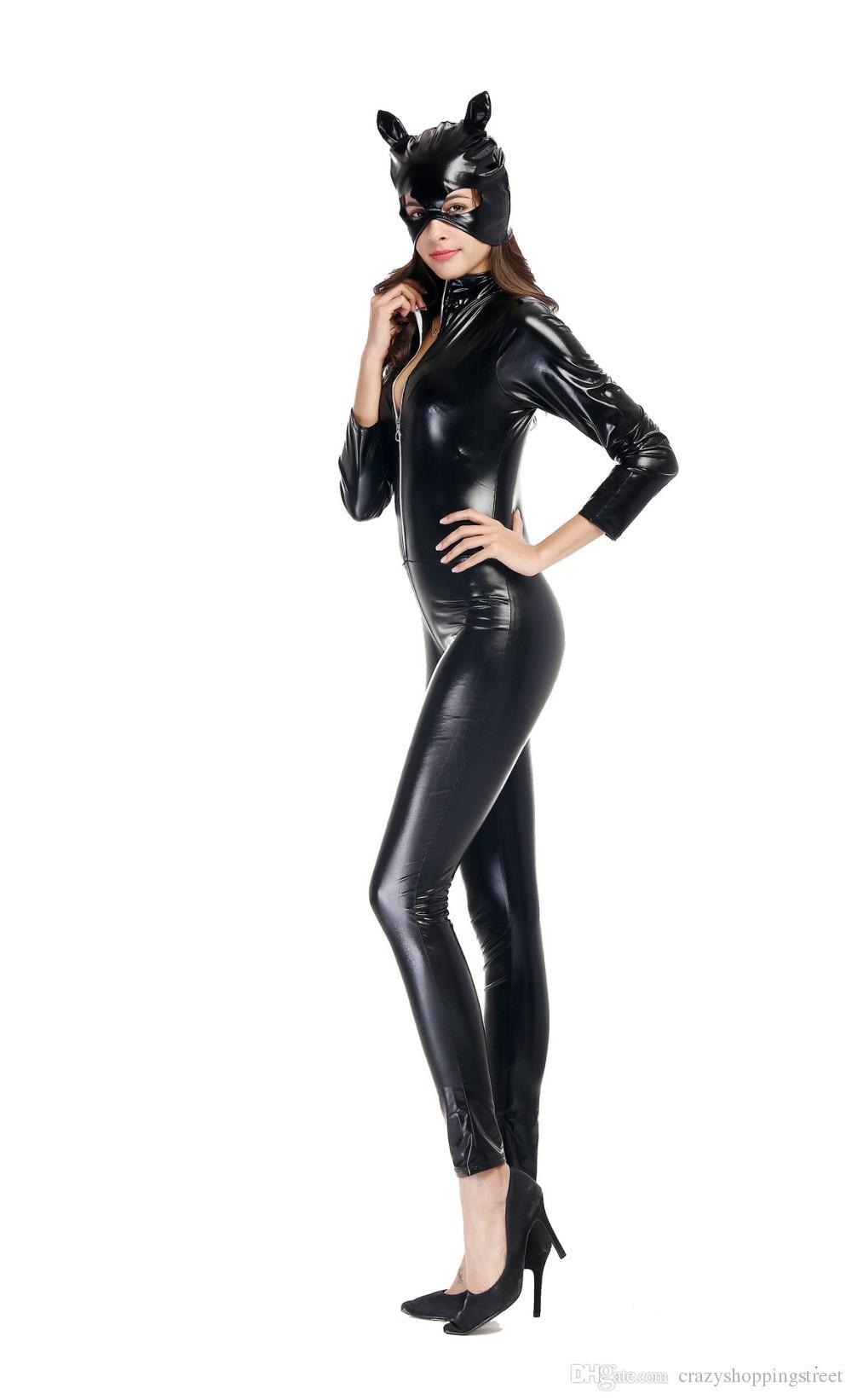 Женская с длинным рукавом искусственной кожи Блестящая Catsuit Cat Женщины стриптизерша комбинезон с маской