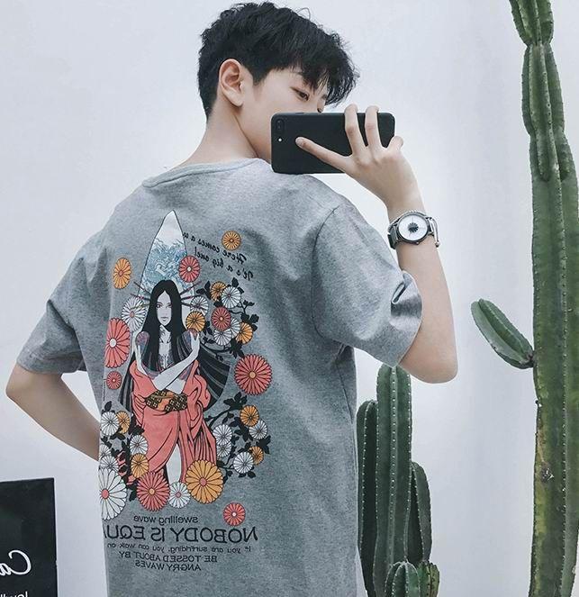 Hong Kong vent nouveau retour impression à manches courtes T-shirt style chinois rétro jeunesse personnalité à manches courtes