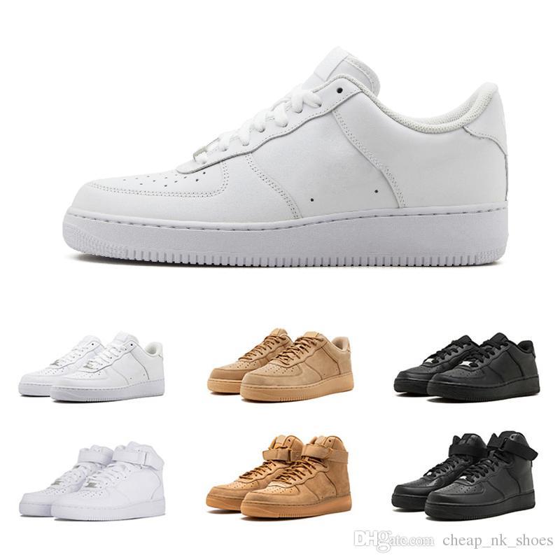 781264c38f Compre Nike Air Force 1 Forces Sapatos De Corrida De Venda Barato 1 Um Das  Mulheres Dos Homens Tênis De Corrida De Skate Sapatos Esportes Branco Preto  ...