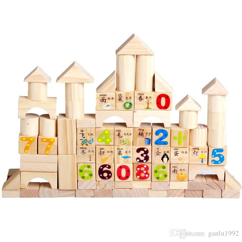 Numbers Letter Wooden Building Blocks Toy Colorful Domino Printing Learning Toys Bricks Creative Children Early Education Gift 31xb YY