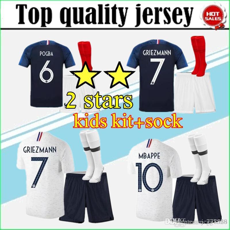 b1ac8eccc3e MBAPPE Soccer Jersey Kids Kits 2018 World Cup Fr Two Stars Jersey 18 ...