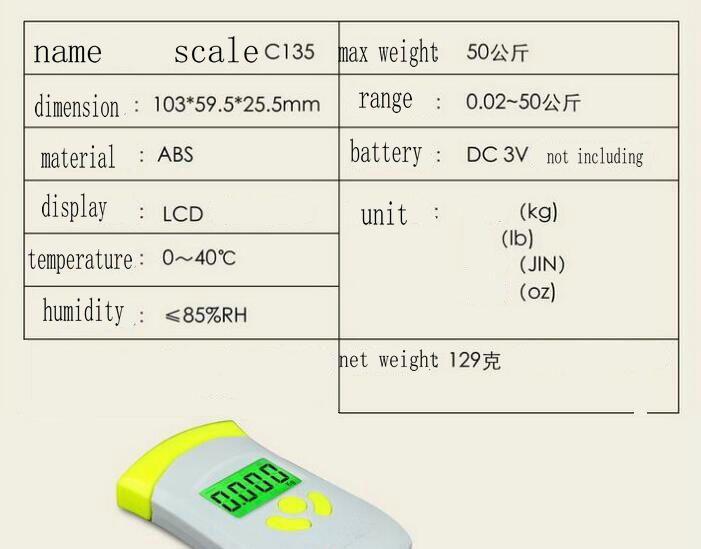 Digital Hanging Luggage Scale Suitcase Bag Baggage 50kg/10g Hook Balance Weighing tool