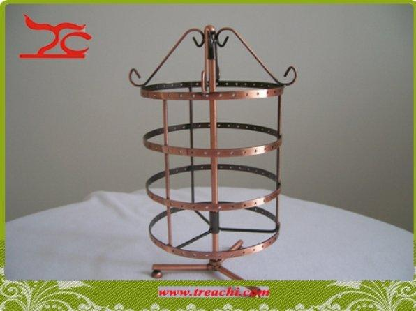 132 Holes Metal Earring Display Stand Rack Rotating Metal Jewelry Storage Stand Bronze