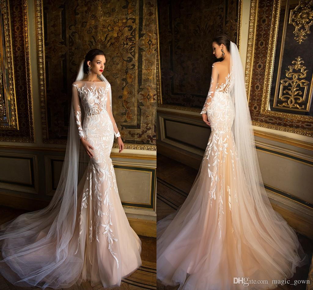 2018 Champagne Sheer Neck Wedding Dresses Mermaid Lace