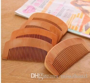 100 adet Doğal şeftali Ahşap Tarak Yakın Dişler Anti-statik Baş Masajı saç bakımı Ahşap