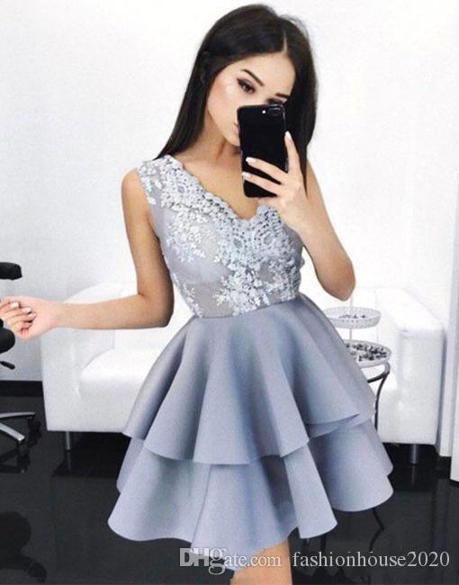 e25527868aa2 2018 Short Mini Arabic A Line Homecoming Dresses V Neck Lace Appliques  Illusion Sleeveless Tiered Ruffles Satin Cocktail Prom Party Gowns Short  Mini Prom ...