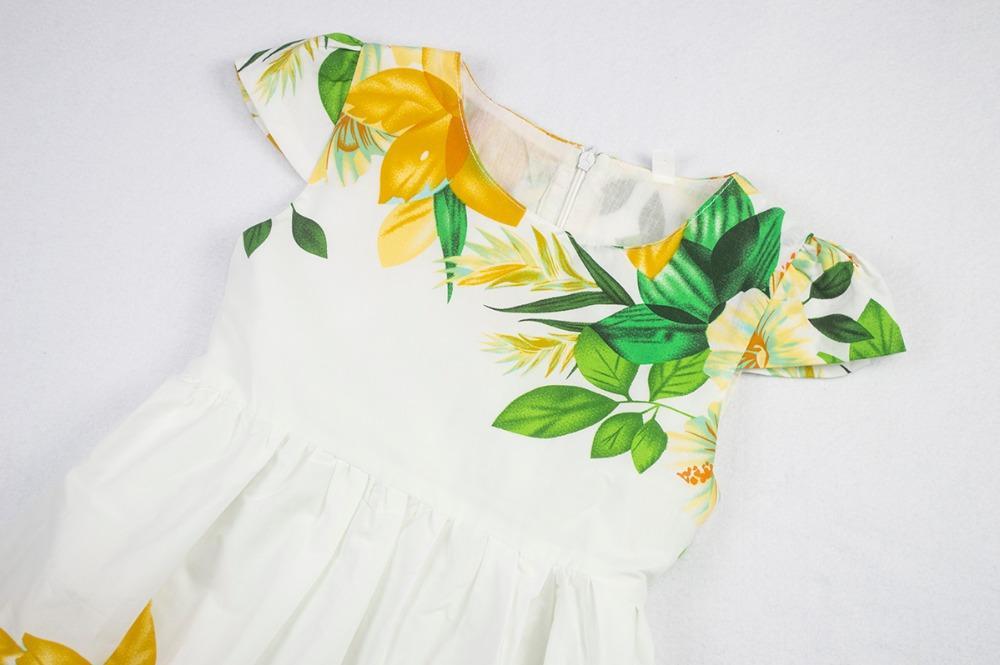 Baby Girls Dress Kids Girl Short Sleeve Casual Cotton Flower Dresses Children Summer Design White Frock Girls Sundress 2-7 Years
