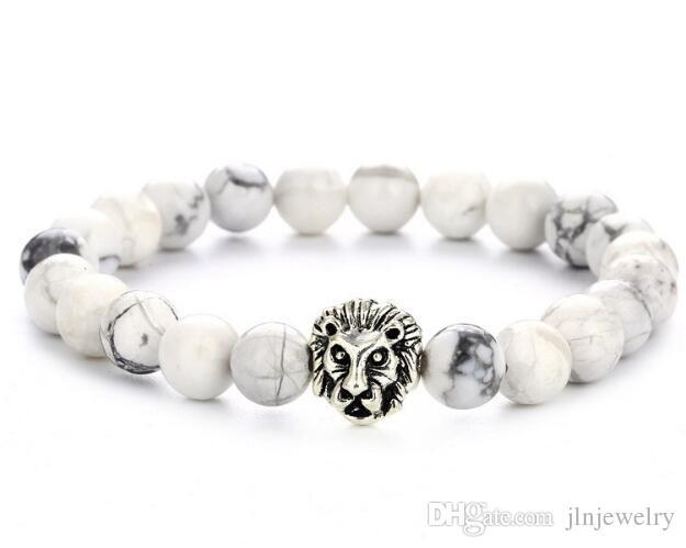 JLN Stone Lion Pulsera Lapis Sodalite turquesa Tiger Eye cuentas estiradas pulseras para hombres mujeres joyería cuerda cadena Strand pulsera