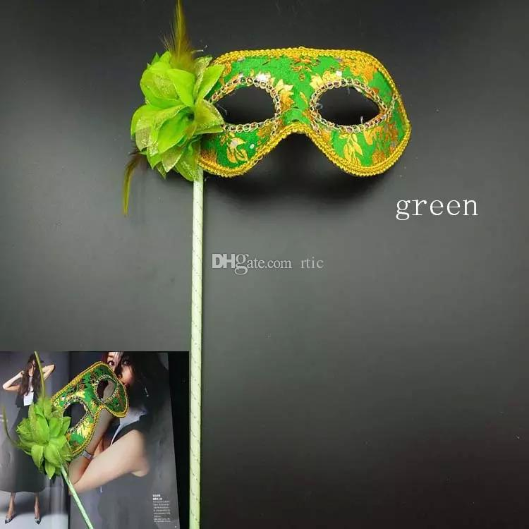 Venetian Half face flower mask Masquerade Party on stick Mask Sexy Halloween christmas dance wedding Party Mask supplies