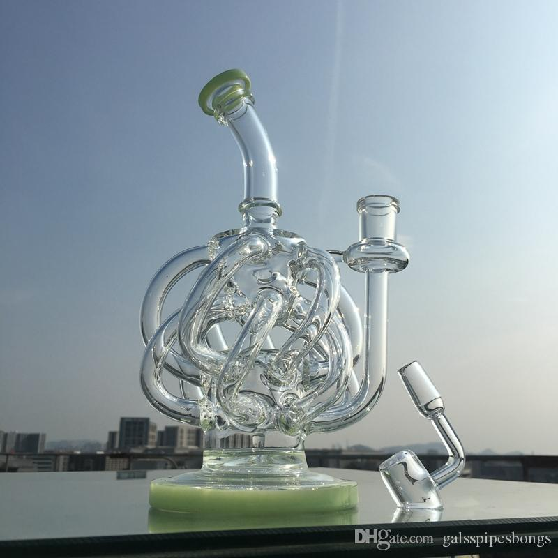 Vortex Recycler Bong Dab Oil Rigs Glass Water Pipes With 12 Reccyler Glass Tube 14mm Joint Purple Glass Water Pipe With Quartz Banger