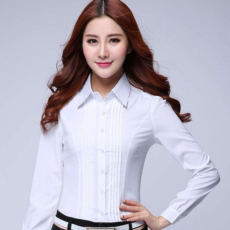 Resmi Gömlek Kadın Giyim 2018 Yeni Ince Tüm Maç Uzun Kollu Beyaz Bluz Zarif OL Ofis Bayanlar Iş Elbisesi Artı Boyutu Tops