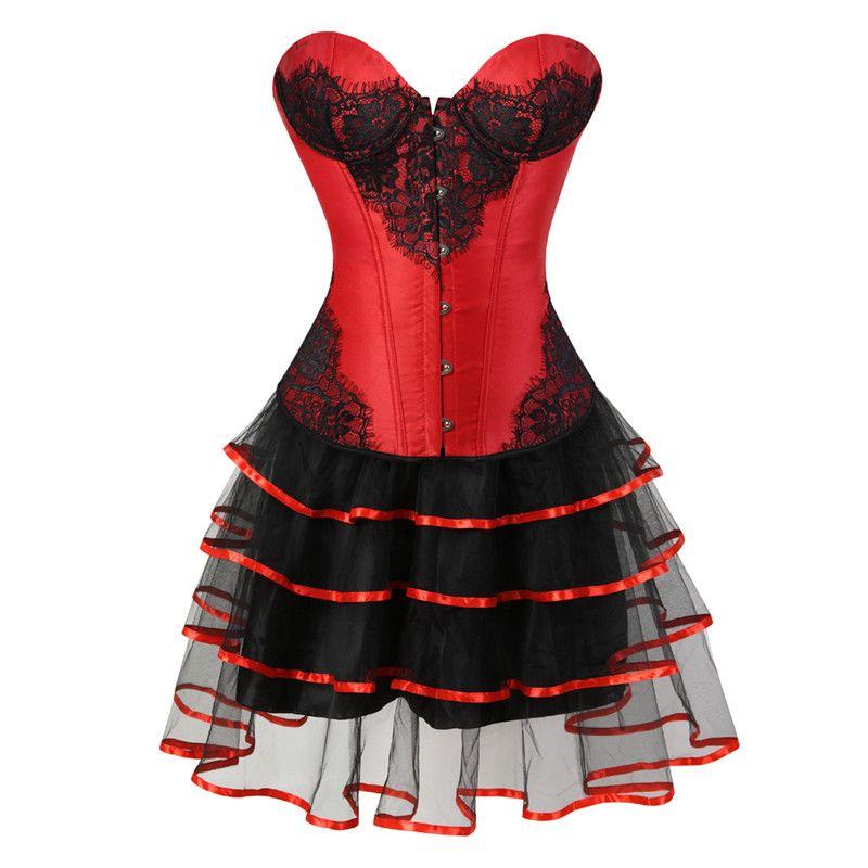 95804a72880b6 Sapubonva Overbust Corset Dress Victorian Lace Flower Lingerie ...
