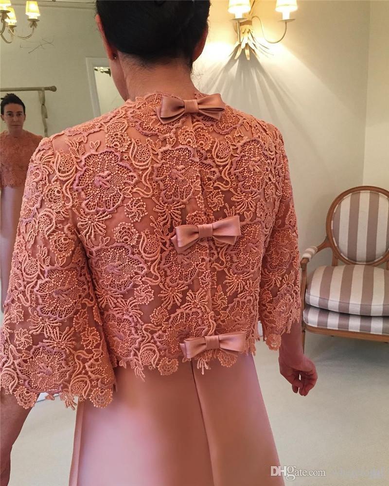 Tamaño más barato de la madre de la novia vestidos con chaquetas 2019 Una línea de encaje de manga larga 3 4 el novio de la madre de noche formales de los vestidos del partido