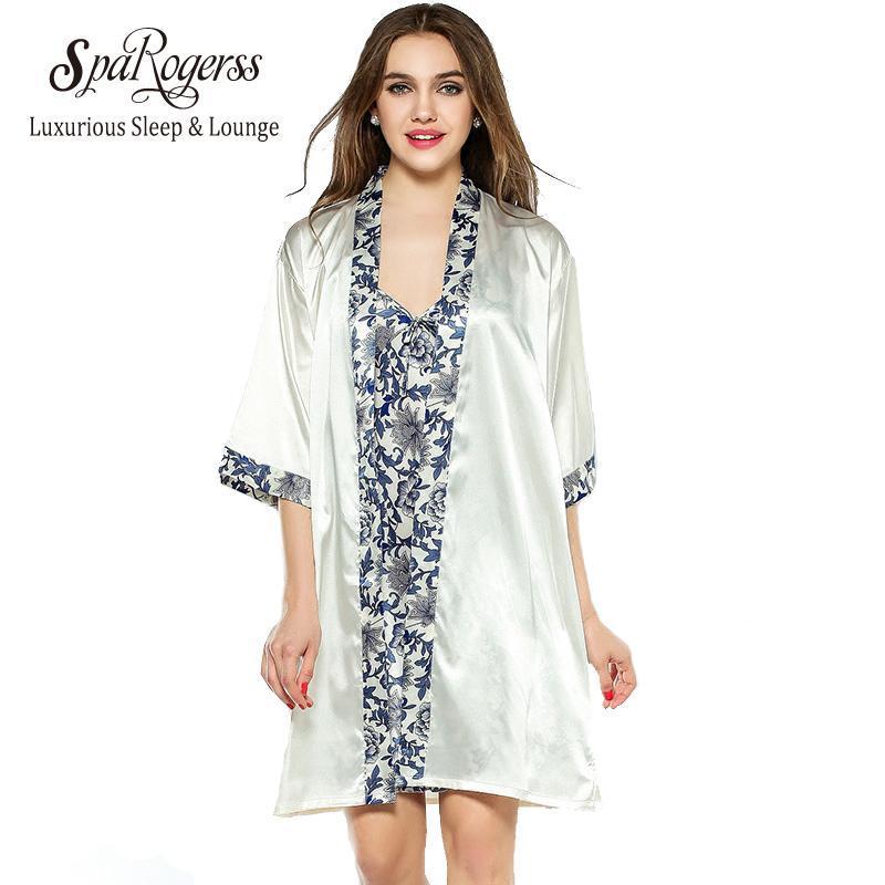 53fefe385745 2019 Wholesale SpaRogerss Women Robe Gown Set 2017 Fashion Faux Silk Robe  Femme Satin Sleepwear Home Suit Night Sleep Bathrobe Set 10221 From  Bigease