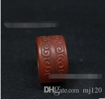 Old South red pull finger war Han Xiangmo agate pull finger ring ring antique jade jade ring ornament