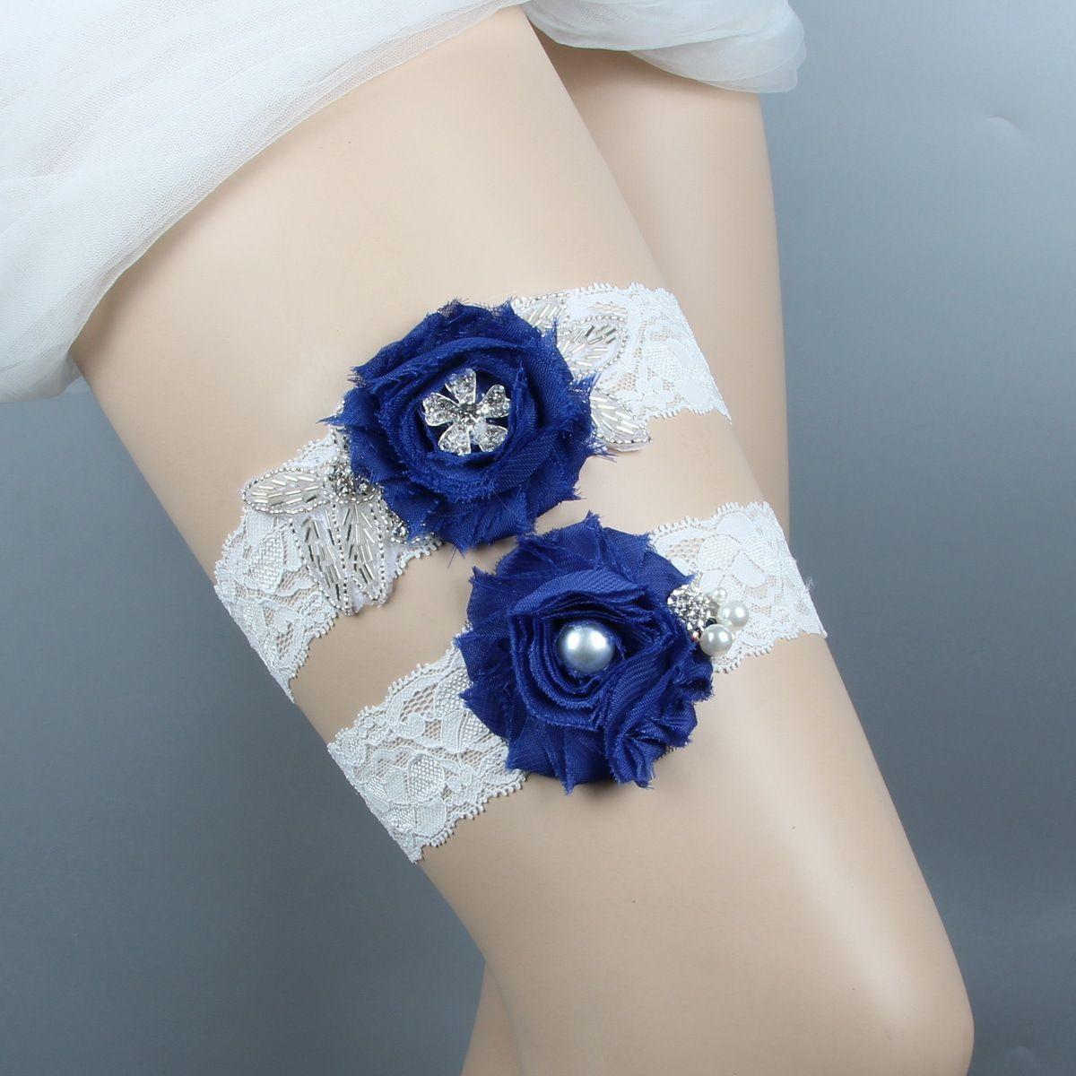 Blue Wedding Garters For Bride Bridal Leg Garters Belt set Lace Rhinestones Crystals Pearls Plus Size Chiffon Flowers handmade