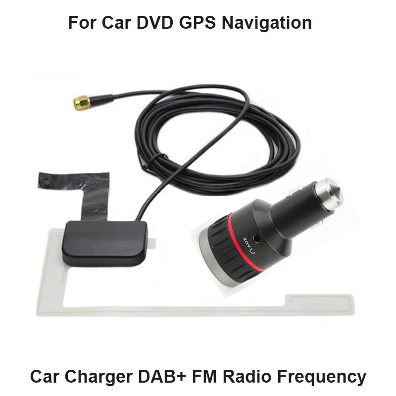 Car Charger FM Frequency DAB+ Tuner/Box Digital Audio Broadcasting Receiver  With glass Antenna Works For Europe Fit for any car GPS