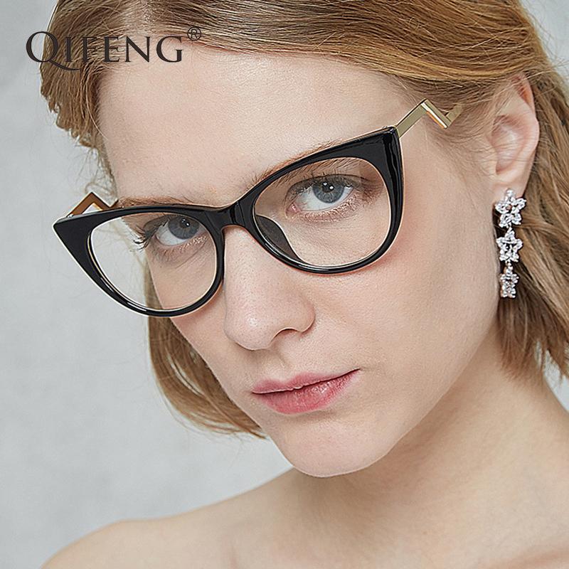 e9865dd8e8 QIFENG Eyeglasses Frame Women Computer Optical Cat Eye Glasses Spectacle  Frame Female For Women S Transparent Clear Lens QF102 UK 2019 From  Fabuline