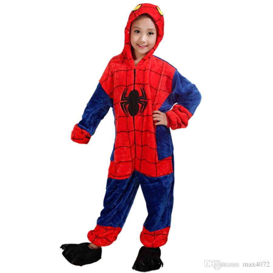 eddefbf53b Fashion Kids One Piece Pajamas Cartoon Spiderman Cosplay Onesie Pajamas For 3  10years Children Boys Girls Soft Flannel Sleepwear Nightwear Pjs For Boys  Boys ...