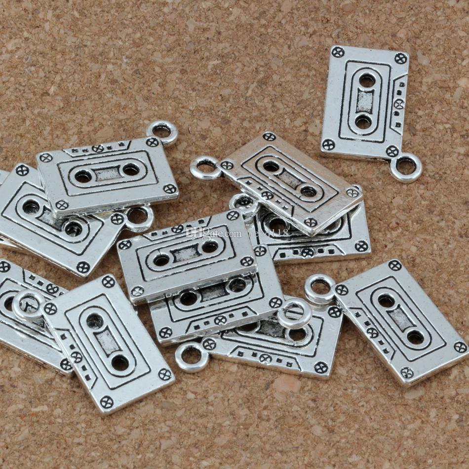 Cassette Tape Charms Hangers 50 stks / partij 23x16mm Antieke Zilveren Mode-sieraden DIY Fit Armbanden Ketting Oorbellen