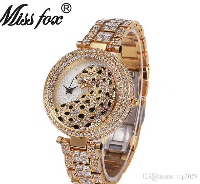 Women Luxury Diamond Watch Fashion Table Fountain Decorative Classic noble Cheetah romantic diamond quartz gold strap Ladies watch