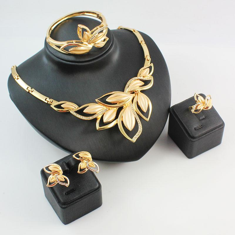whole saleFree Shipping Gold Color Crystal Jewelry Set Fashion Leaves Pendant Earrings Neckalce Bangle Ring Set 4pcs Wedding Jewelry Sets