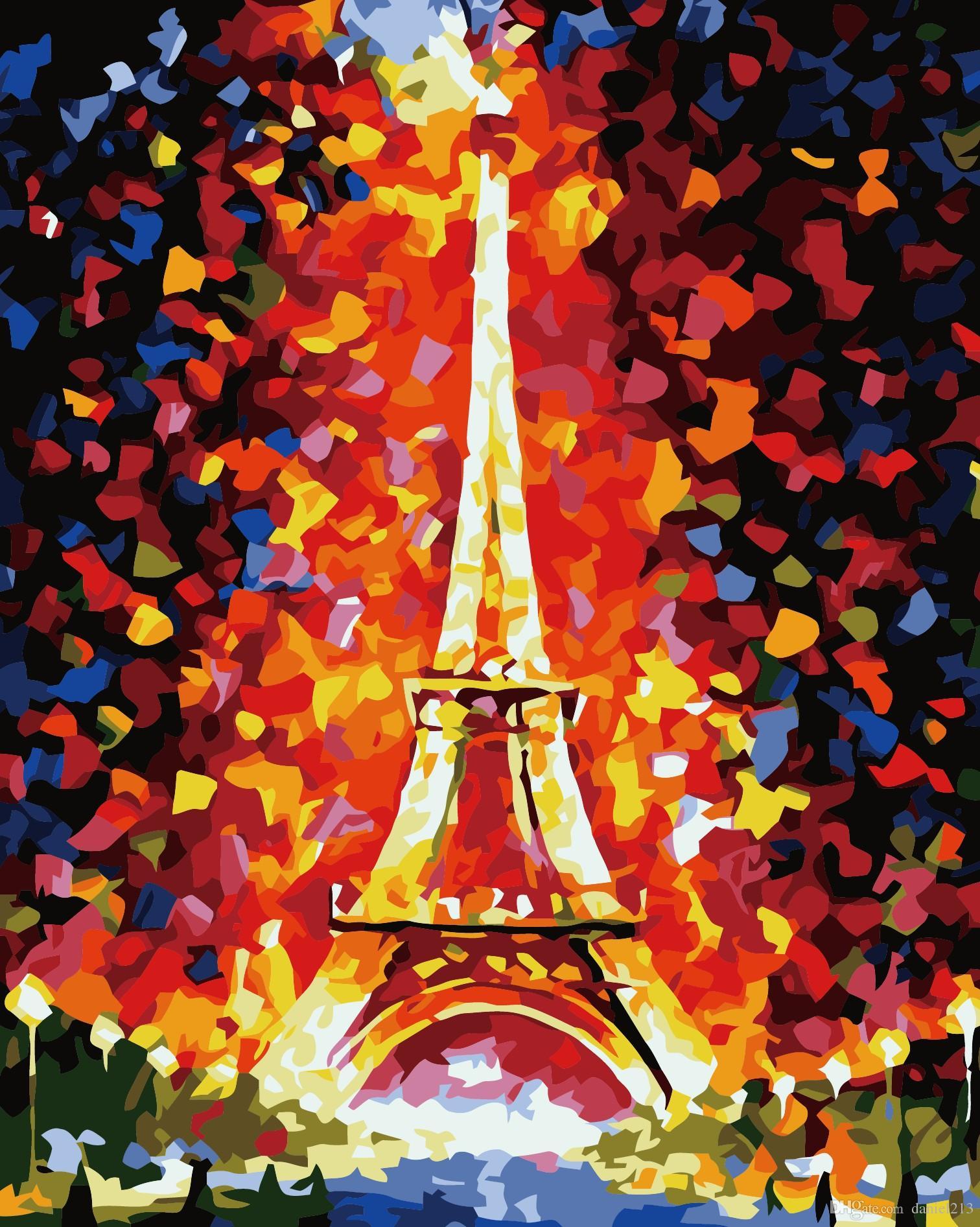 16x20 Diy Malen Nach Zahlen Kits Abstrakte Kunst Acryl ölgemälde Auf Leinwand Für Erwachsene Kinder Unframe Romantische Paris Street Eiffelturm