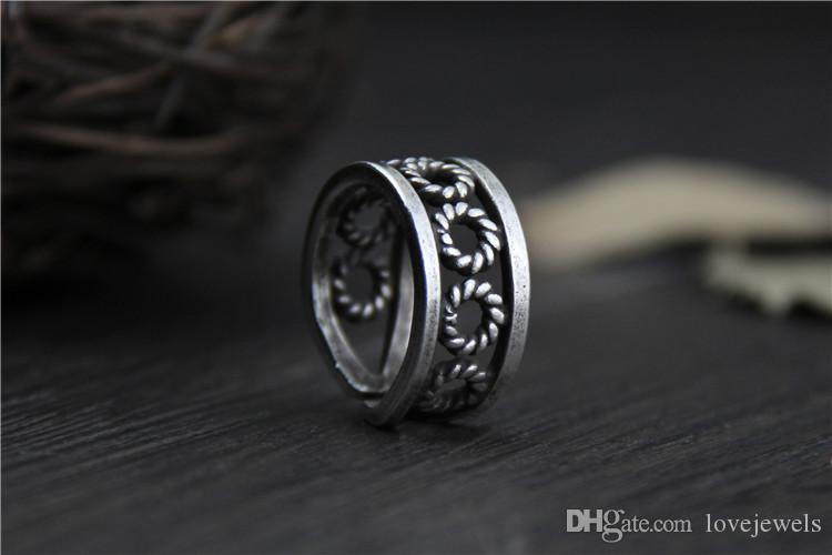 designer jewelry fashion charms 999 sterling silver rings Handmade Adjustable Ethnic style do old retro ring vintage wholesale china direct