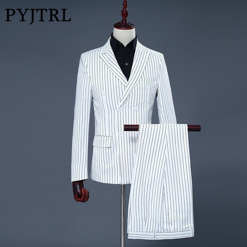 Grosshandel Pyjtrl Marke Manner Zweiteiler Weiss Streifen Kleid Anzuge