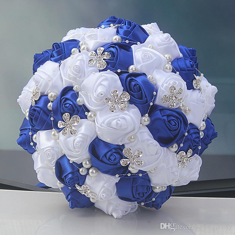 Royal Blue Rose Crystal Wedding Bouquets For Bride Satin