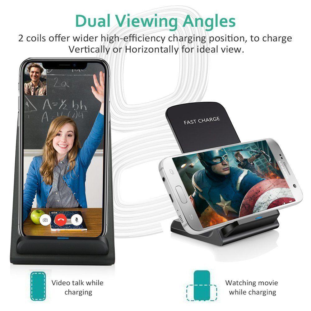 Ци Беспроводное зарядное устройство для быстрого беспроводного зарядного устройства Подставка для Apple, iPhone X 8 8Plus Samsung Примечание 8 S8 S7 все Ци-совместимых устройств