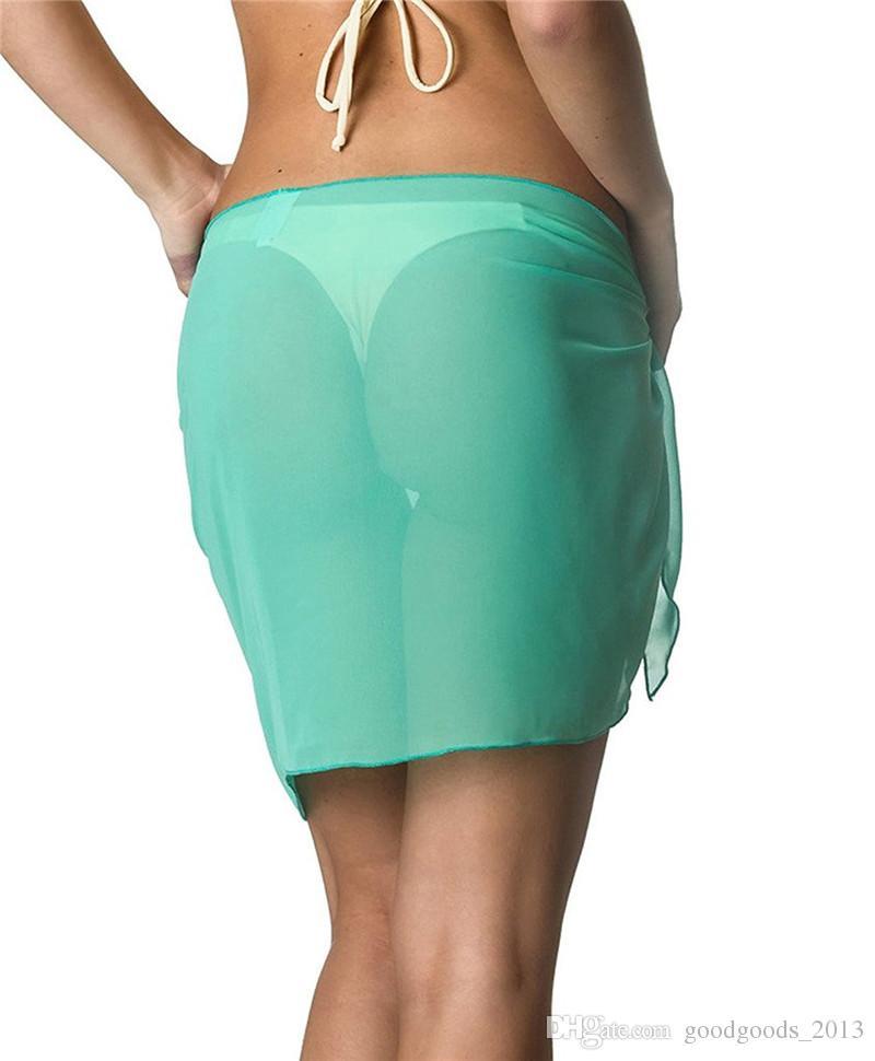 Sexy Swimwear Women Beach Skirt Solid Color Chiffon Cover Up Bikini Wrap Beach Sarong for Swim Bathing Suit Swimsuit z203