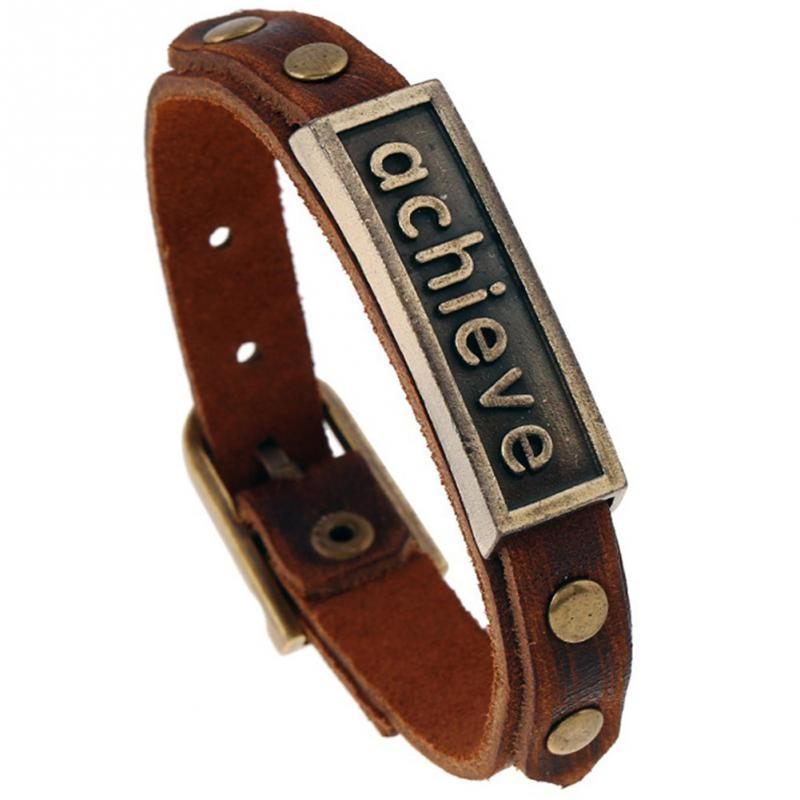 Faux Cowhide Leather Retro Bracelet Men Woman Daily wear with essential Simple leisure Jewelry Accessory gift