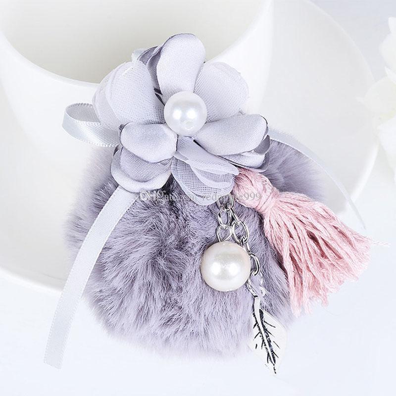 Tassel Pearl Flower Ball Pompom Keychain Car Keyring Rabbit Fur Ball Keychain Fur Brand Pompons Bag Charms With Chains Keyring