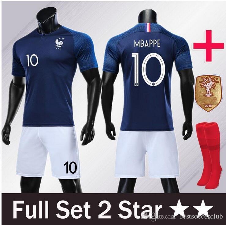 brand new fd40a 6df10 2019 Adult kits GRIEZMANN MBAPPE POGBA soccer jerseys 2018 world cup Man  shirts DEMBELE MARTIAL KANTE jersey set