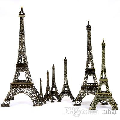 853597bd80 Metal Eiffel Tower Model Paris Tower Figurine Craft Home Decoration Paper  Box Packing 13cm Shipping Free