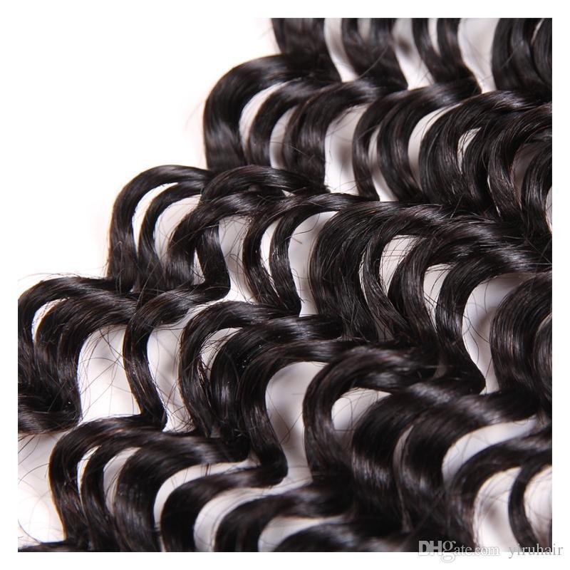 Brezilyalı İnsan Saç 3 Demetleri Ile 13x4 Dantel Frontal Su Dalga Saç Uzantıları Dakimler Dantel Frontal 4 Adet / grup