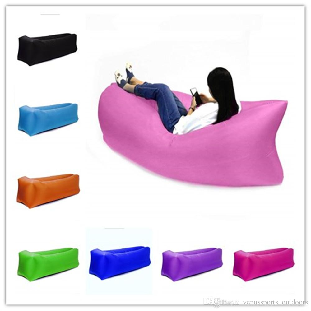 11 colors Lounge Sleep Bag Lazy Inflatable Beanbag Sofa Chair, Living Room Bean Bag Cushion, Outdoor Self Inflated Beanbag Furniture