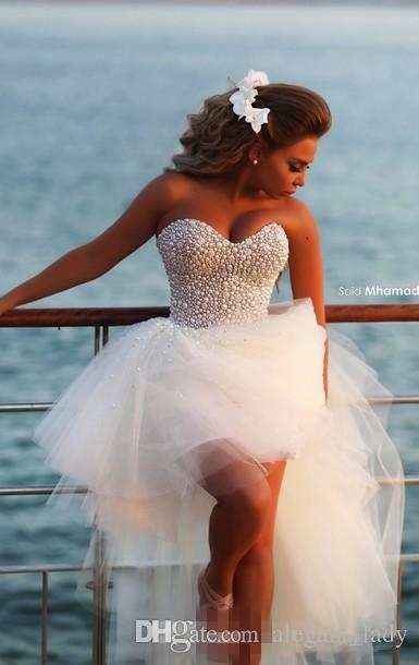 High Low Beach Wedding Dresses 2018 Modest Luxury Crystal Pearls Sweetheart Summer Holiday Seaside Short Bridal Wedding Dress