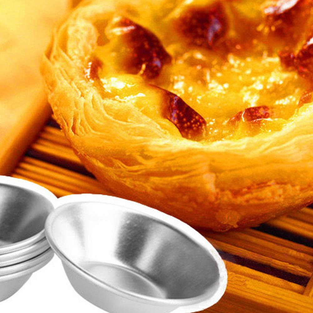 10pcs/lot Sturdy Egg Tarts Mold Round Aluminum Alloy Mould for Steamed Cupcake Rice Cakes Tartlets Small Baking Tools Reusable