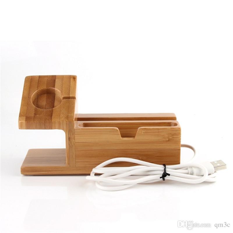 Universal 3 USB Holz Telefon Ladegerät Docking Station Handy Halter Smartphone Bambus Halterung Ständer Unterstützung für Apple Watch ipad Halter